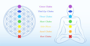 Flower of life and meditating man, both with symbols of the seven main chakras